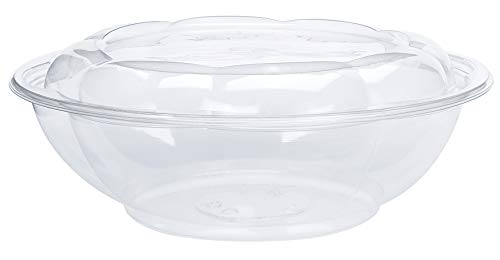 Price comparison product image DOBI Serving Bowls (10 Pack) 64oz - Clear Plastic Disposable Containers with Lids,  Family Size. Great for a Party or When You Wish to Take Your Treats with You