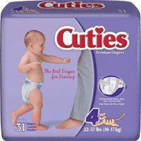 Cuties Baby Diaper Size 4, 22 to 37 lb- 124 ct.