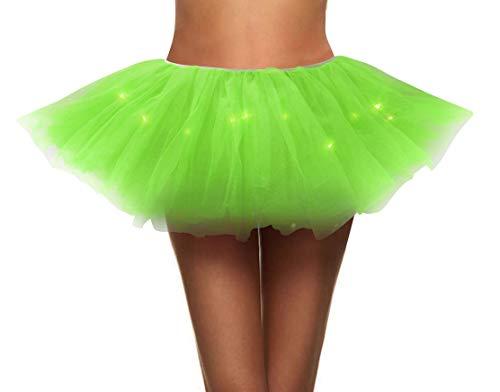 Simplicity Women's LED Light Up Tulle Tutu Skirt Running Tutu,Fluorescent Green (Glow In The Dark Tutu For Kids)