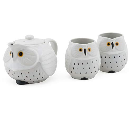 Cute Novelty Owl Design Ceramic Tea Pot with Strainer and 2 Cups Tea Set (White Owl)]()