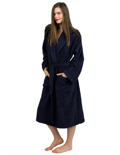 TowelSelections Women's Robe, Turkish Cotton Terry Shawl Bathrobe Medium/Large Navy