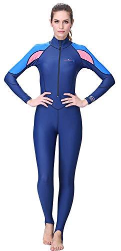 (A Point Snorkeling Swimming Full Suit Bodysuit Wetsuit Swimsuit For Men/Women (XL(169-174CM), women's navy/pink))