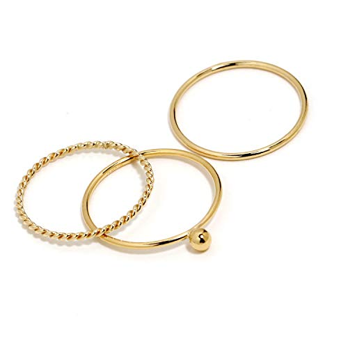 Gold Rings For Women, Stackable Rings for Women, Dainty Rings, Gold Simple Rings For Women Girls, Delicate 1mm Very Thin Band, Stacked Ring Set, 14K Gold Filled, Made in USA, Size 5-9 (Ball/7) 14k Gold Filled Set