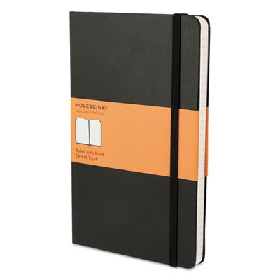 Hard Cover Notebook, Ruled, 8 1/4 x 5, Black Cover (2 Pack)