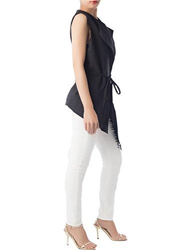 iB-iP Mujer Cárdigan Drapeado Asimétrico Sin Mangas Camisola Asimétrica Cami Negro