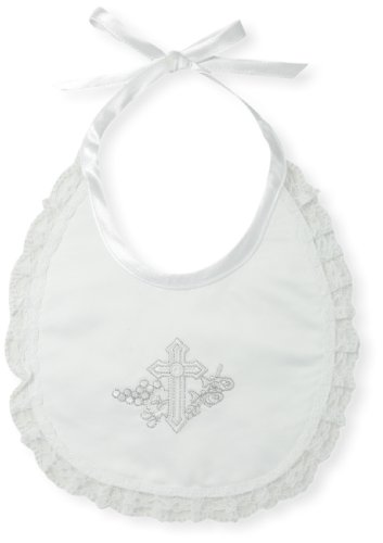The Christening Collection Unisex Baby Baby Satin Bib with Lace Trim, White, One Size