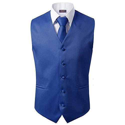 - 3 Pcs Vest + Tie + Hankie Men's Fashion Formal Dress Suit Slim Tuxedo Waistcoat Coat (Medium, Royal Blue)