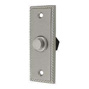Solid Brass Rectangular Rope Bell Button (Satin Nickel)