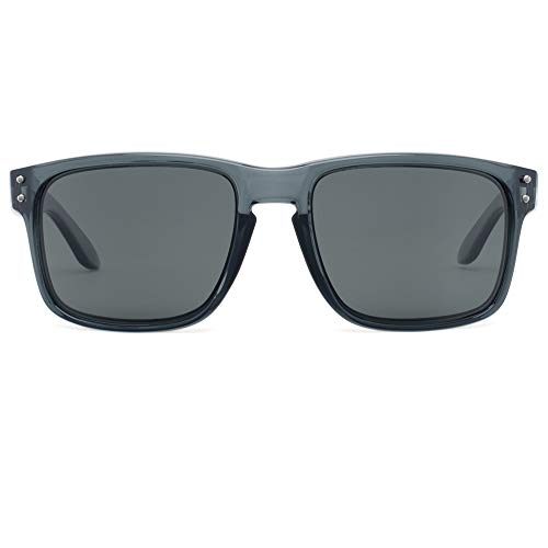 Bnus italy made Unisex polarized sunglasses for men womens shades corning real glass lens (Crystal Grey/Grey Polarized 56mm(M), Polarized ()