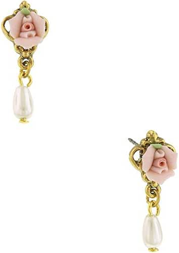 1928 Jewelry Porcelain Rose Simulated Pearl Flower Earrings