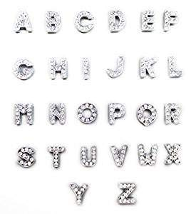Charm Mm Slide 10 - ALL in ONE A-Z 26pcs Rhinestone Alphabet Letter Slide Charms (10mm)