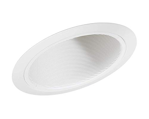Four-Bros Lighting SB30/SLOPE/12PK Sloped Ceiling Trim Recessed Can Fixture 6 Inch Angled Stepped Baffle BR30 PAR30-For Remodel and New Construction Applications SB30/WHT/SLOPE, 12 Pack, White,