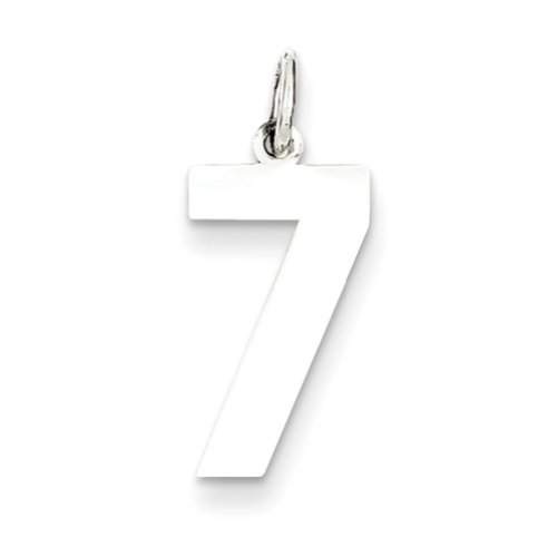 Sterling Silver Medium Polished Number 7 Charm, Charms for Bracelets and Necklaces
