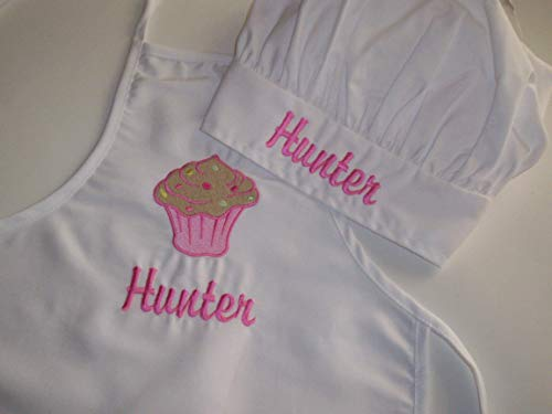 Kid child size Chef apron and hat set personalized with cupcake