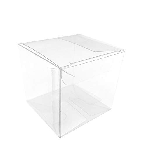 Clear Cube Box Transparent Candy Box Plastic Thank You Treat Boxes Wedding Party Favors Baby Shower Party Boxes Supplies 2x2x2 Inch, 50pc -