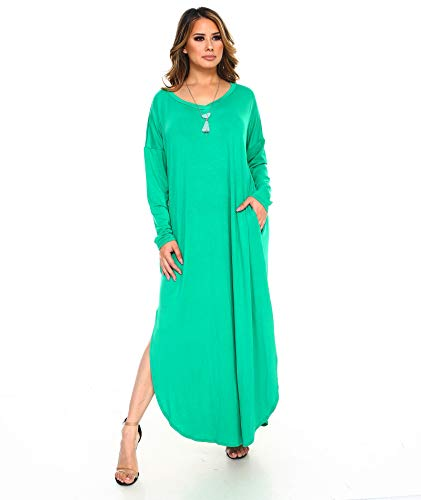 Isaac Liev Women's Long Sleeve Tunic Dress with Pockets and Side Slits (Large, Kelly -