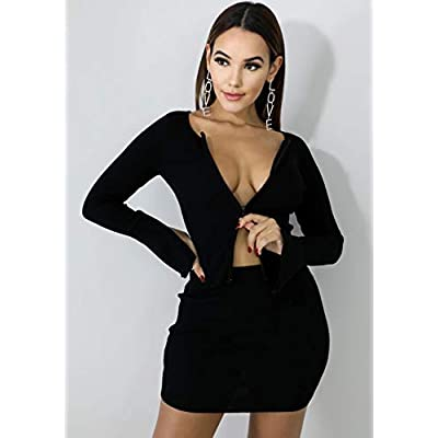 Kylie Jenner Ribbed Tops and Skirts Sets Double Zipper Tracksuits Women 2 Piece Outfits: Clothing