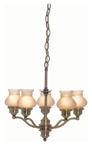 Lite Source LS-19271AB/AMB Pendant with Amber Glass Shades, Steel Finish For Sale