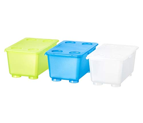 Ikea ABS Plastic Rectangular Box with Lid (17×10 cm/6 x4-inch, White, Light Green, Blue) – Pack of 3
