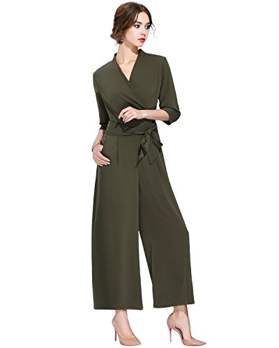 Burdully Women's Jumpsuits Rompers High Waist V Neck 3/4 Sleeve Belted Zipper Back Wide Leg Long Pants by Burdully