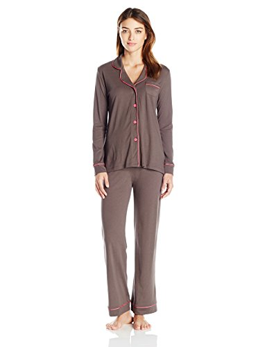 Cosabella Women's Bella Long Sleeve and Pants Pj Set, Smokey Gray/Hot Pink, Small