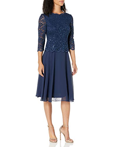 Alex Evenings Women's Sequin Lace Mock Dress (Petite and Regular), Navy, 16