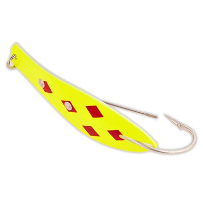 (Yellow Bird Fishing Products Weedless Doctor Spoon Fishing Lure (315- Yellow/Red 5 of Diamonds, Size- 4-1/2