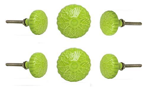 Trinca Ferro Set of 6 Ceramic Holiday Flower Knob Light Green