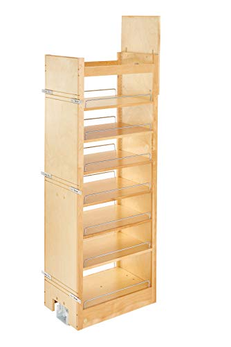 (Rev-A-Shelf 14 in W x 58 in H Wood Pantry Pullout Soft Close, Natural)