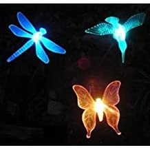 Esky® Solar Powered Outdoor Hummingbird, Butterfly & Dragonfly Garden Stake Light--with chameleon multi-color changing LED light--Great kits for garden decorations, and flower beds (Hummingbird & Butterfly & Dragonfly)