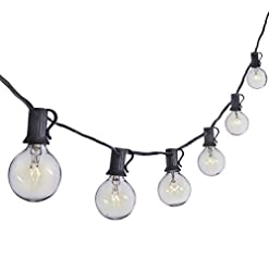 Garden and Outdoor Sterno Home 25-Ft Clear Globe Outdoor Incandescent String Lights G40 Bulbs on Black Cord – For Backyard, Weddings, Patio… outdoor lighting