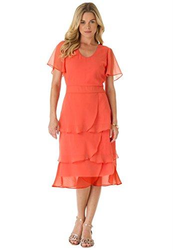 Roamans Women's Plus Size Tiered Dress (Dusty Coral,16 W)
