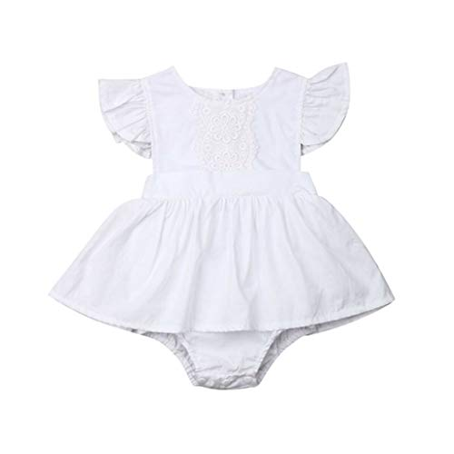 New InfantClothes Newborn Ruffles Romper Summer Baby Costumes Jumpsuit Playsuit Baby Girl(B White,12M)