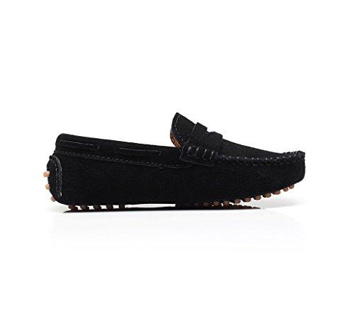 Shenn Filles Garçons Mignonne Confort Glisser Sur Noir Suède Cuir Flâneurs Chaussures S8884 EU26