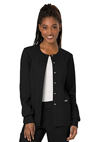 Cherokee Women's Snap Front Warm-up Jacket, Black, Large (Scrub Jackets For Nurses)