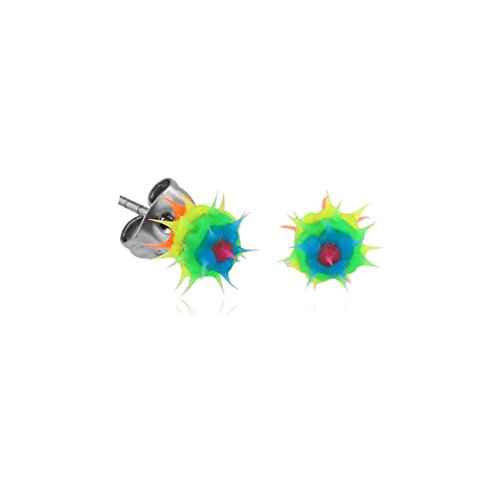 Bubble Silicone Spikey Ball Ear Studs Pair fashion jewelry