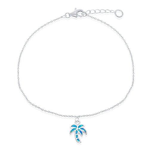 Opal Palm Tree - Sterling Silver w/ Created Blue Opal Palm Tree adjustable 9+1