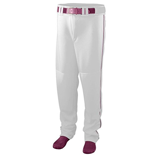 Augusta Activewear Series Baseball/Softball Pant with Piping - Youth, White/Maroon, Large