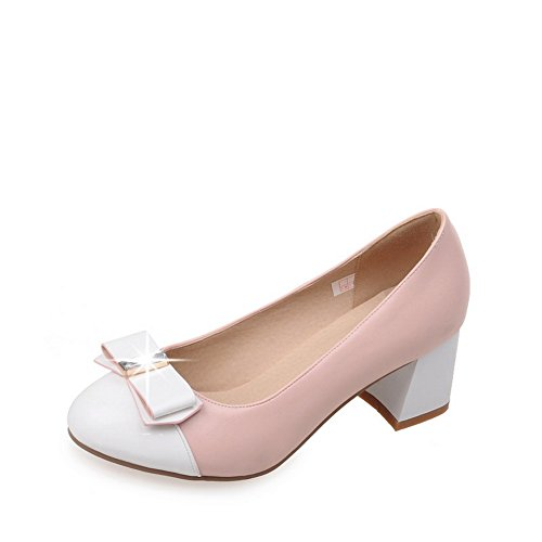Pumps Matching Bottom BalaMasa Leather Pink Heel Color Imitated Thick Glass Diamond Womens Shoes wICpHqv