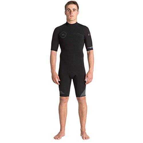 (Quiksilver 2mm Syncro Back Zip FLT Men's Shorty Wetsuits - Black/Black/Jet Black/Large)