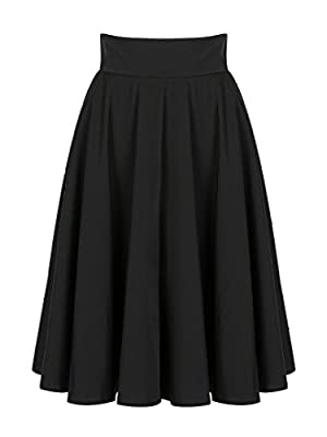 PERSUN Women's Solid Flared High Waist Pleated Midi Skater Skirt