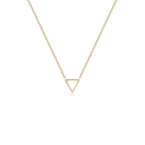Fettero Tiny Gold Triangle Choker Necklace-Dainty 14K Gold Filled Minimalism Style Cute Pendant Necklace Personalized Delicate Friendship Jewelry Gift