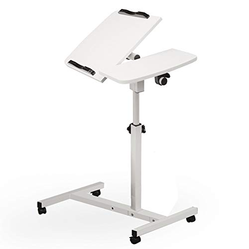 Price comparison product image Sdoo Turnlift Sit-Stand Portable Mobile Laptop Desk Notebook Macbook Tables Cart with Side Table Black Adjustable Mobile Laptop Computer Desk with Adjustable Top and Casters (white,  L60W40H65-95CM)