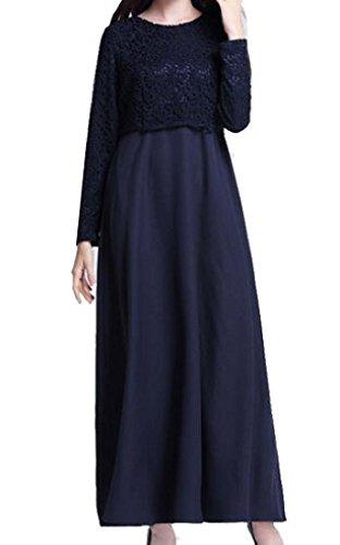 Color Purplish Dress Long Women Coolred Abaya Sleeve Arab Solid Muslim Blue Lace wpanUYf4