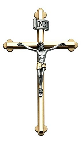 Cathedral Art NC330 Metal Cross with 2-Tone Figure, - Two Tone Wedding Cross