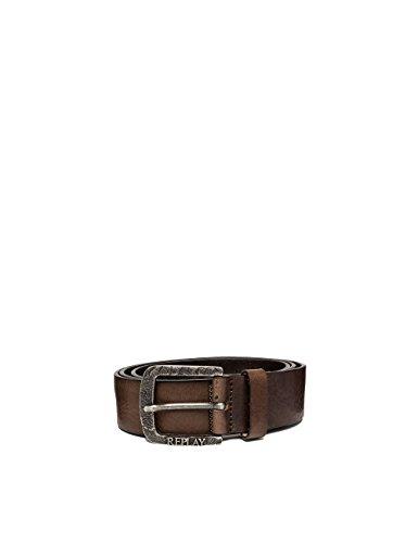 Replay Men's Douglas Men's Leather Black-Brown Belt in Size 95 Brown by Replay