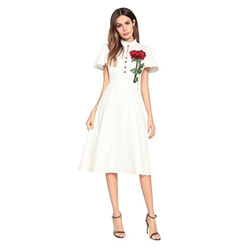 Kleid der Frau Damen Kleider Reine Farbe Kurzarm Zurück Reißverschluss  Kleine Stehkragen Vintage A-Linie d73eac325c