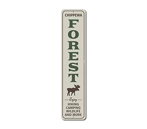 The Lizton Sign Shop Forest Vertical Sign, Personalized Enjoy Hiking Camping Wildlife Moose Gift, Custom National Park Cabin Decor - Quality Aluminum - 4