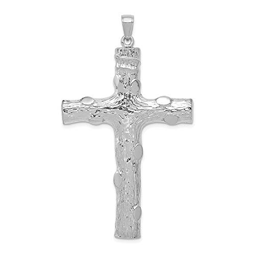 14k White Gold 2 D Large Nugget Cross Religious Pendant Charm Necklace Latin Inri Fine Jewelry Gifts For Women For Her
