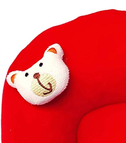 PIKIPOO New Born Baby Soft Velvet Fabric Musterd Seeds Rai Pillow for Baby Head Shaping Takiya Detachable Mustard/Rai Seed Pouch for Easy Washing(New Born 0-9 Months Age Group) Red & Yellow